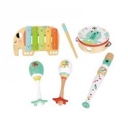 TOOKY TOY Zestaw Instrumenty Muzyczne dla Dzieci Cymbałki Bębenek Flet Marakasy w Skrzyni 6 el.