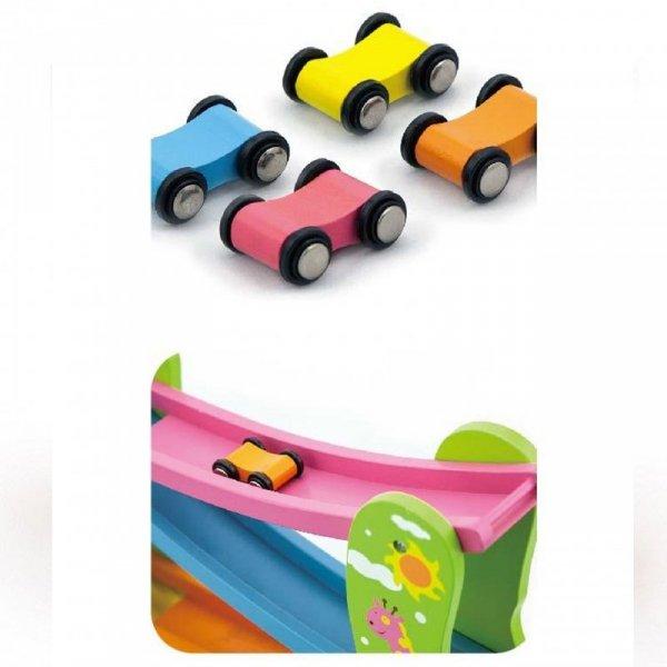 Kolorowa Drewniana Zjeżdżalnia Dla Samochodzików Viga