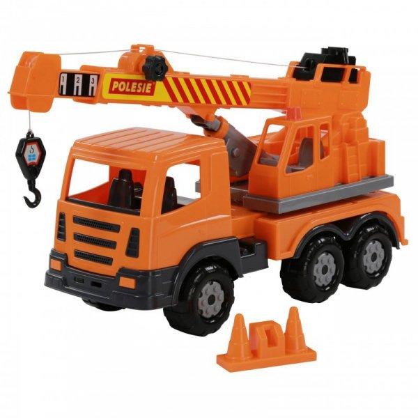 Dźwig Budowlany Auto Ciężarówka 43cm + Pachołki