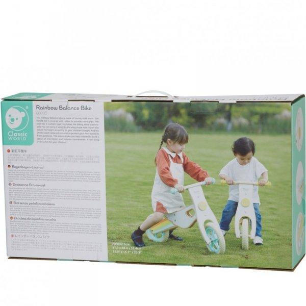 CLASSIC WORLD Drewniany Rowerek Biegowy dla Dzieci Ciche Koła Tęcza