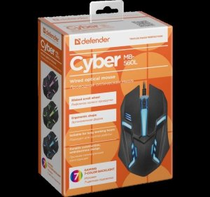 DEFENDER MYSZ CYBER MB-560L 7 KOLORÓW 1200DPI 3P CZARNA 52560