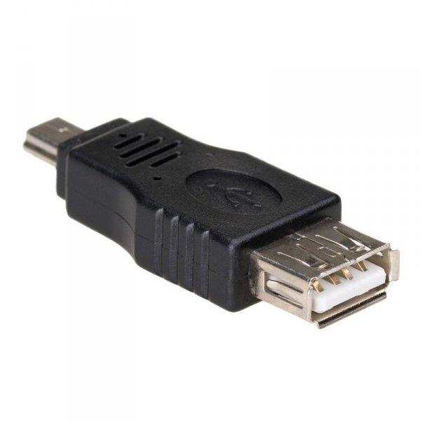 Akyga Adapter AK-AD-07 USB-AF/miniUSB-B (5-pin) USB A USB mini B 5-pin Czarny
