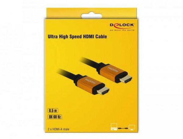 DELOCK KABEL HDMI M/M V2.1 0.5M 8K 60HZ CZARNO-POMARAŃCZOWY 85726