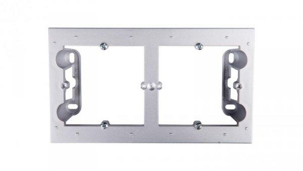 Simon 54 Premium Puszka natynkowa podwójna płytka srebrny mat DPN2/43