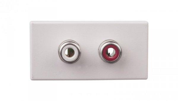 Simon Connect Gniazdo K45/2 audio 2xRCA /Cinch/ czysta biel K101B/9
