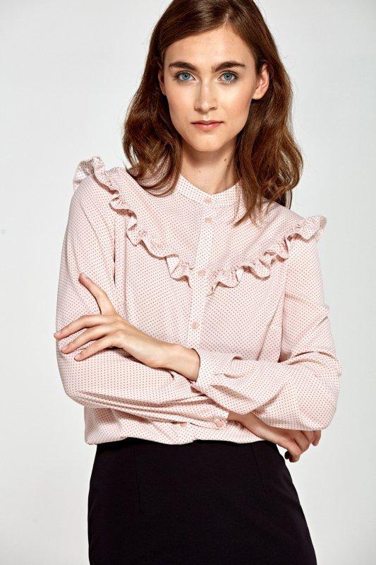Bluzka z falbankami B82 Pink/Kropki - Nife