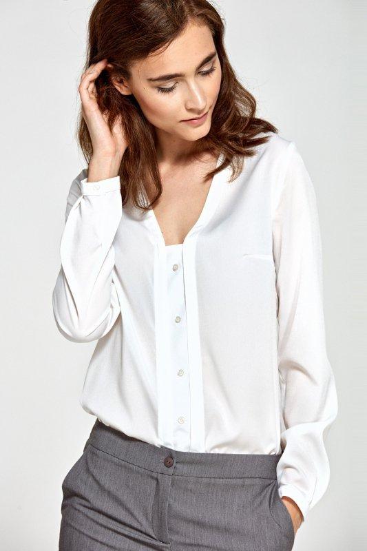 Bluzka z pionową lamówką i guziczkami B80 Ecru - Nife