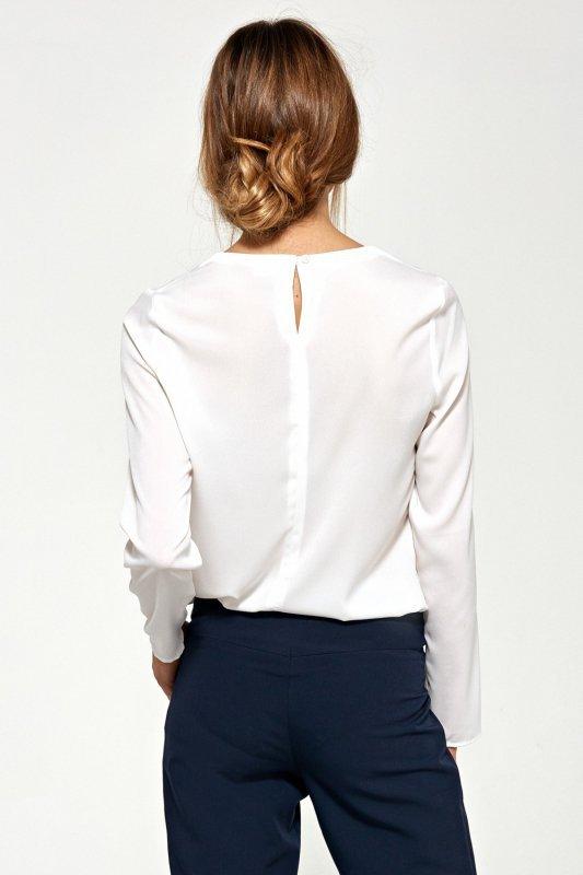 Bluzka z asymetrycznymi draperiami B87 Ecru - Nife