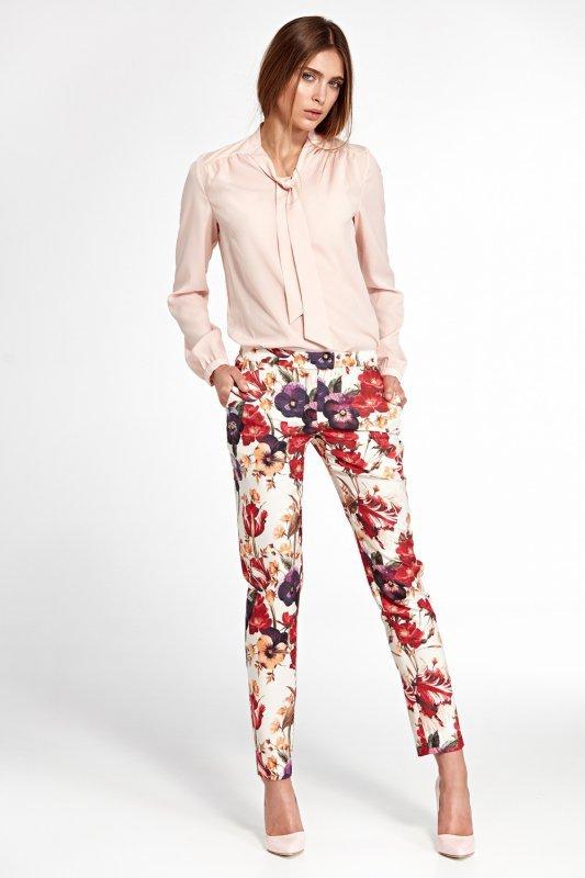 Klasyczne spodnie z lekko zwężanymi nogawkami SD33 Flowers - Nife