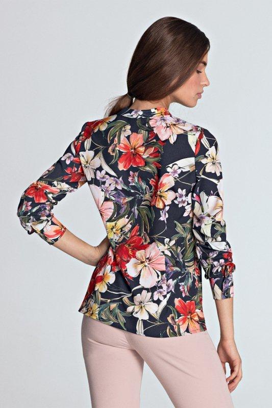 Bluzka ze złotymi napami B102 Flowers/Navy - Nife