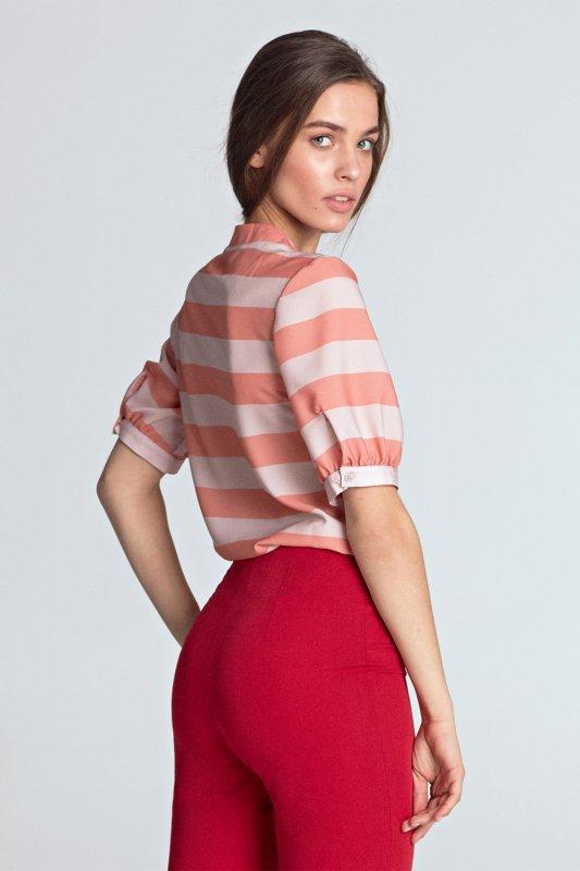Bluzka z wiązaniem Model B101 Orange/Paski - Nife