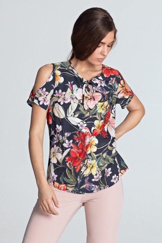 Bluzka z wycięciami na ramionach B99 Flowers/Navy - Nife