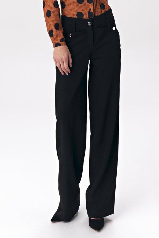 Czarne spodnie palazzo SD38 Black - Nife