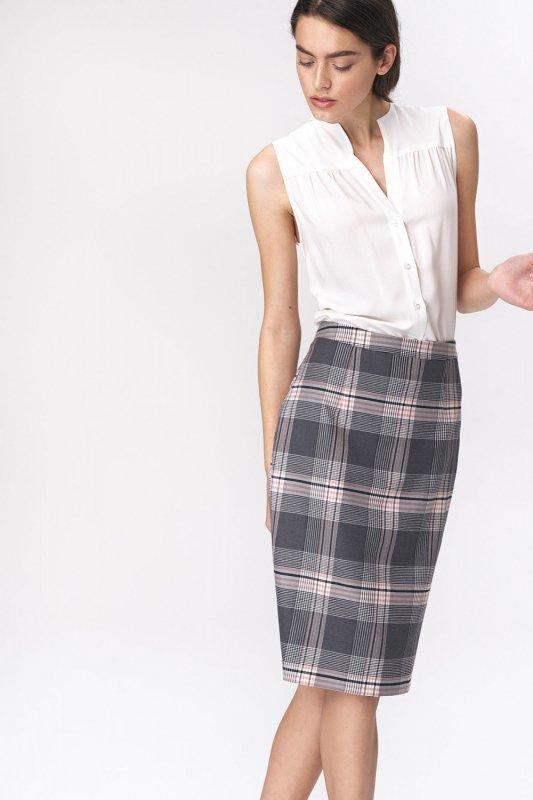 Spódnica Ołówkowa szara spódnica w kratę SP48 Krata - Nife
