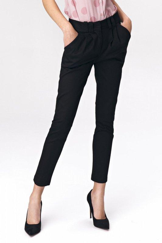 Dopasowane czarne spodnie damskie SD40 Black - Nife