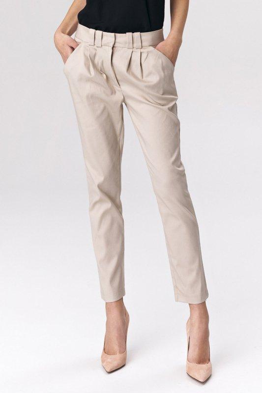 Dopasowane beżowe spodnie damskie SD40 Beige - Nife