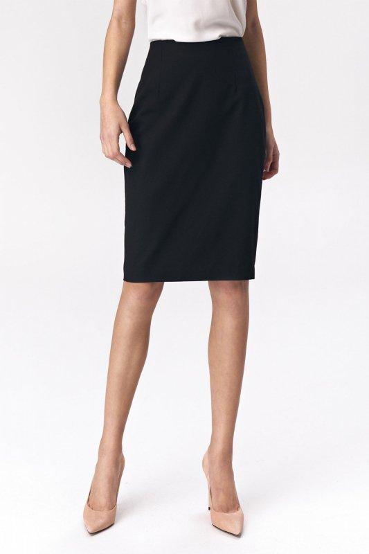 Spódnica Prosta czarna ołówkowa spódnica SP49 Black - Nife