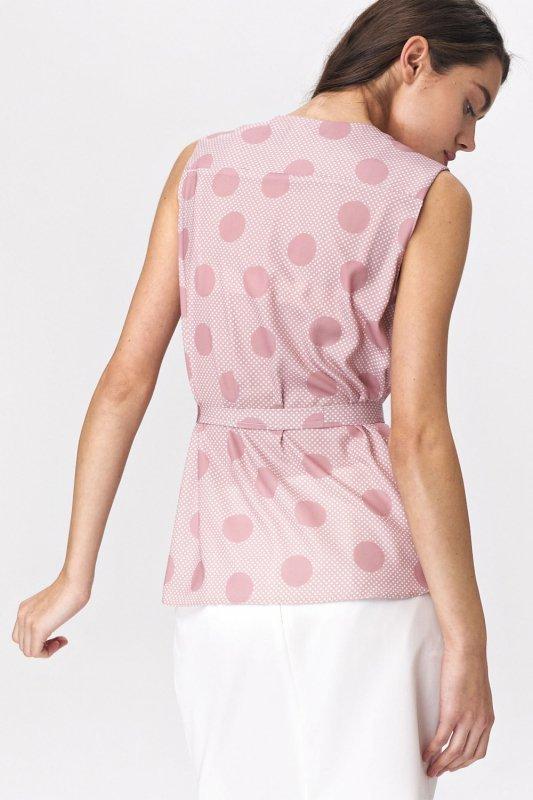 Urocza różowa bluzka bez rękawów B112 Pink/Grochy - Nife