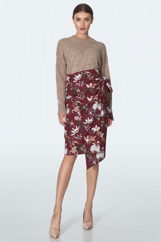 Spódnica Bordowa przekładana spódnica w kwiaty SP54 Flowers/Bordo - Nife