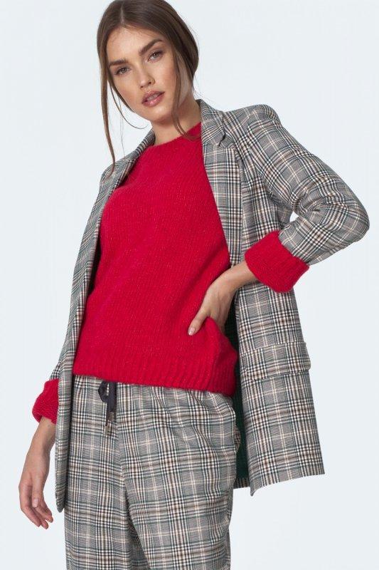 Klasyczny malinowy sweter SW07 Malina - Nife