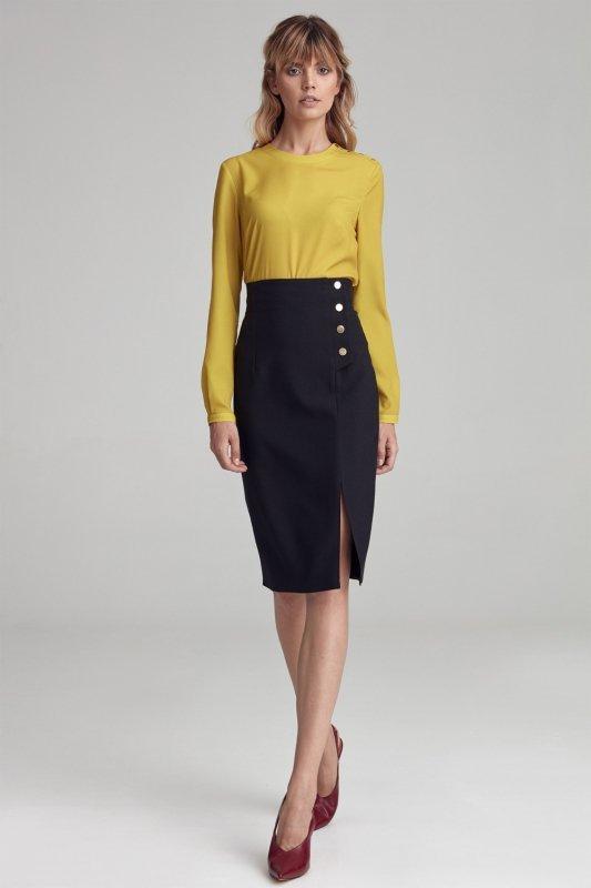 Spódnica Czarna spódnica z wysokim stanem SP56 Black - Nife