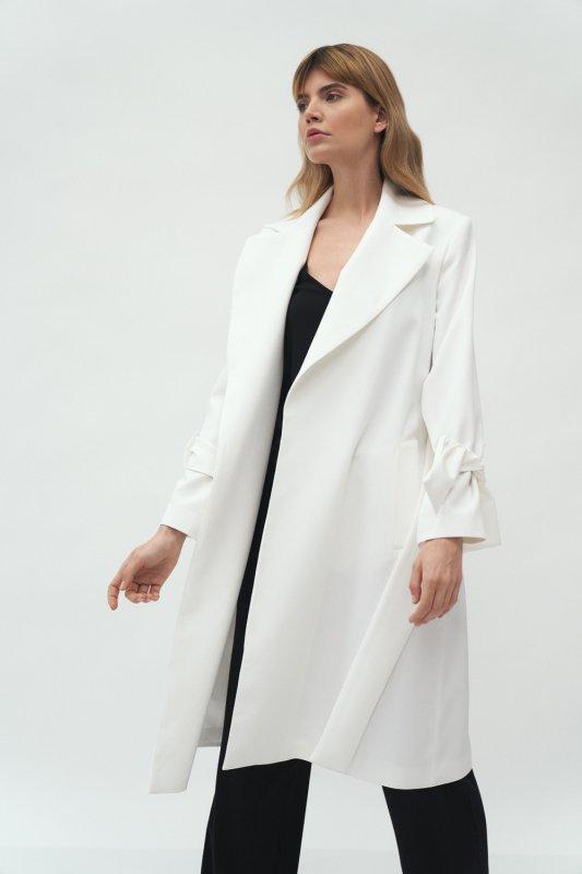 Ecru płaszcz z wiązanymi rękawami PL13 Ecru - Nife