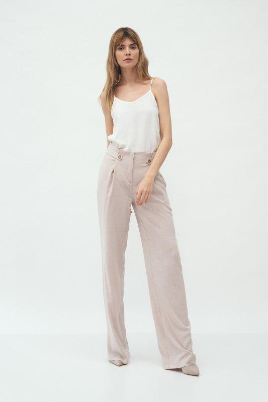 Spodnie Beżowe spodnie z zakładkami typu palazzo SD58 Beige - Nife