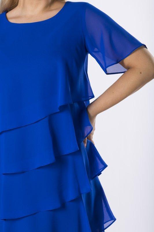 szyfonowa sukienka z asymetrycznymi falbanami