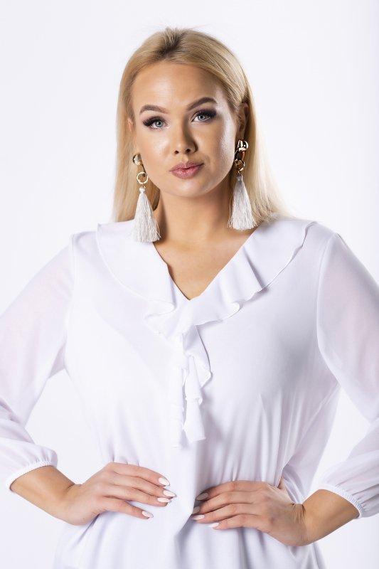 szyfonowa bluzka z falbankami na biuście