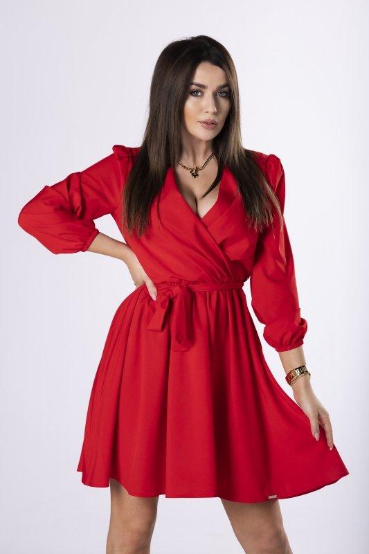 kopertowa sukienka z paskiem