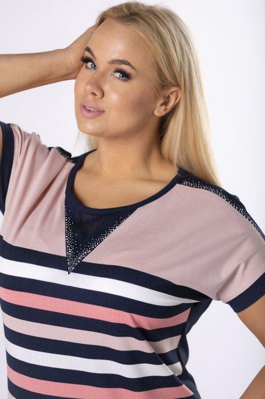 bluzka z siateczką na dekolcie