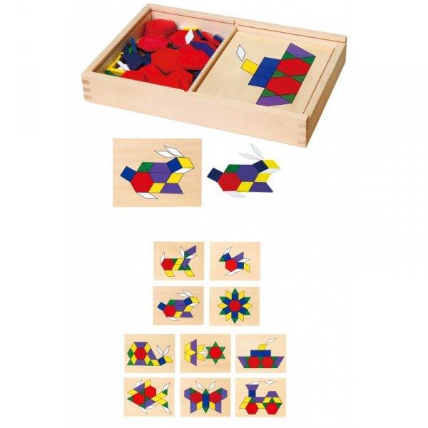 Drewniana Mozaika Geometryczna - Układanka Logiczna Klocki 148 el - Viga Toys