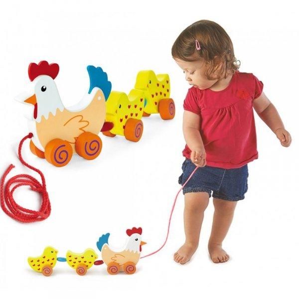 Zestaw do ciągnięcia Kurka z kurczakami 36 cm - VIGA Toys
