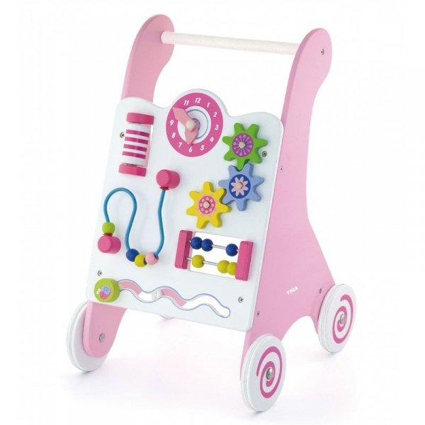 Pchacz Drewniany Edukacyjny Różowy - Viga Toys