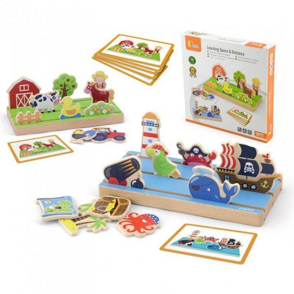 Drewniana Układanka Edukacyjna Nauka Odległosci 2w1 - Viga Toys