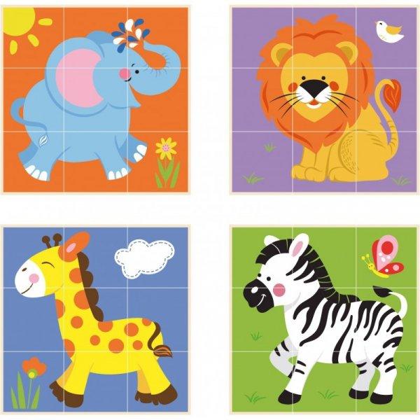 Drewniana Klocki układanka logiczna Puzzle Zoo 9 elementów - Viga Toys