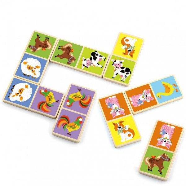 Drewniana gra Domino Farma - 28 elementów - Viga Toys