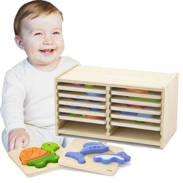 Puzzle drewniane 12 plansz - Viga Toys