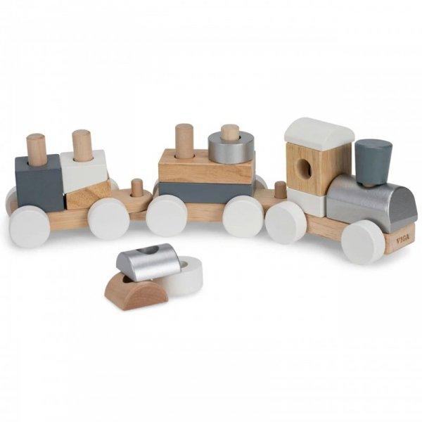 Drewniana Kolejka z wagonikami do ciągnięcia + Klocki - Viga Toys