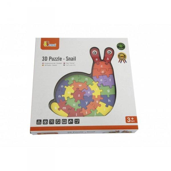 Drewniana układanka Puzzle Ślimak 3D - Viga Toys