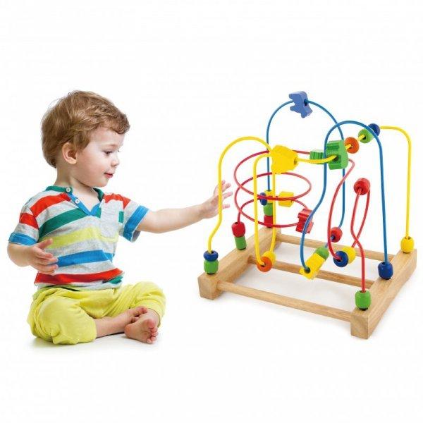 Drewniana Przeplatanka Sensoryczna Labirynt Edukacyjny - Viga Toys