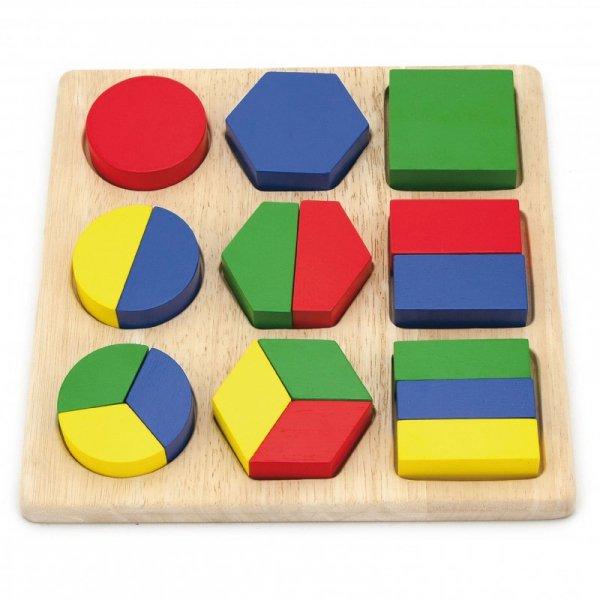 Drewniana układanka  - Wzory Figury Geometryczne 18 Elementów - Viga Toys