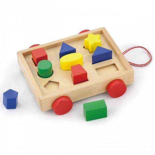 Drewniany Wózek z klockami i Sorterem - Viga Toys