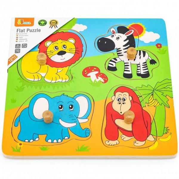 Drewniane Puzzle Zwierzęta ZOO Układanka Niespodzianka - Viga Toys