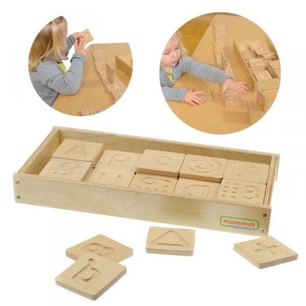 Zabawka Sensoryczna Rozpoznaj Dotykiem Literki Cyfry Kształty - Masterkidz