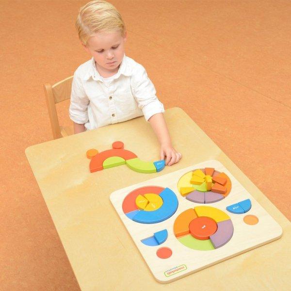 Edukacyjne Puzzle Drewniane Kolorowe Układanka - Masterkidz