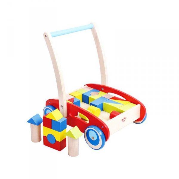 Drewniany Chodzik Pchacz dla Dzieci + Klocki 33 el. TOOKY TOY