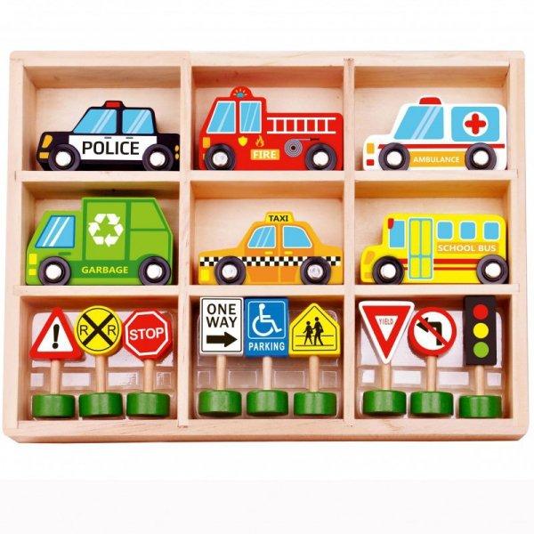 Zestaw Drewnianych Pojazdów i Znaków Drogowych - TOOKY TOY