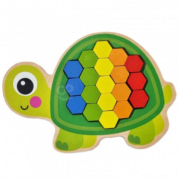 Drewniana Kolorowa Mozaika Układanka Żółw Ślimak - TOOKY TOY