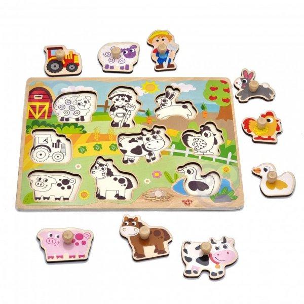 Drewniane Puzzle Farma z Pinezkami Do Dopasowania - TOOKY TOY